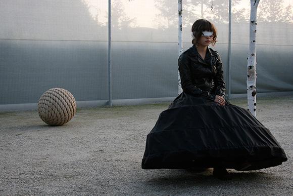 "Image below from ""Amble"" site-specific work at  Cornerstone, Sonoma performer Sylvie Glassman | Photo by Luke Rothschild"