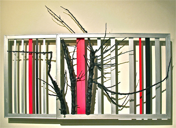 """Vitality I"" (Fusion Ikebana series) by Shizuko Greenblatt, 2011; acrylic on canvas frames, branches and wooden rods, 42"" x 60"" x 14"". 