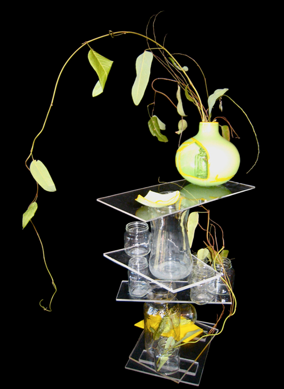 """Grace"" (Fusion Ikebana series) by Shizuko Greenblatt, 2009; mixed media, 32"" x 22"" x 20"". 
