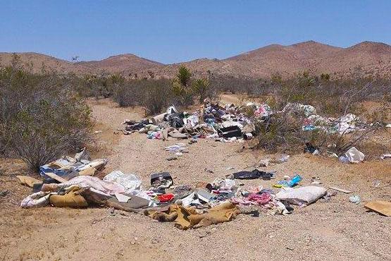 An illegal trash dump in the Mojave Desert.   Photo: Courtesy BLM.