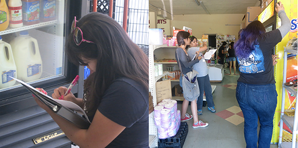 Community Liaisons taking inventory at Sociedad and Euclid Markets.