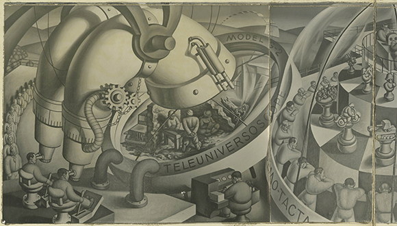 "Jirayr Zorthian Mural ""Phantasmagoria of Military Intelligence Training"" (missing/unknown location)"