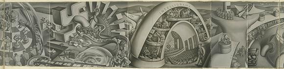 "Jirayr Zorthian Mural ""Phantasmagoria of Military Intelligence Training"" (missing/unknown location)"