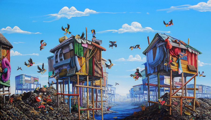 "Jeff Gillette, ""Crows."" Disney book collage painting. 