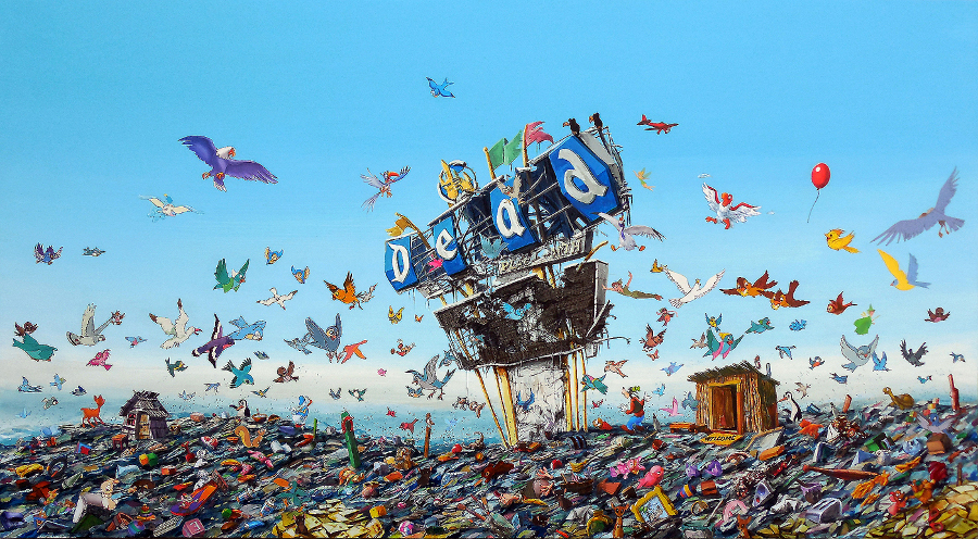 "Jeff Gillette, ""Dead Landfill."" Acrylic and birds collaged from Disney books. 