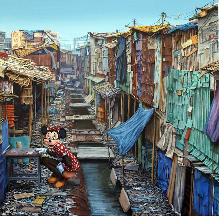 "Jeff Gillette, ""Shadow City Minnie."" Oil on canvas. 