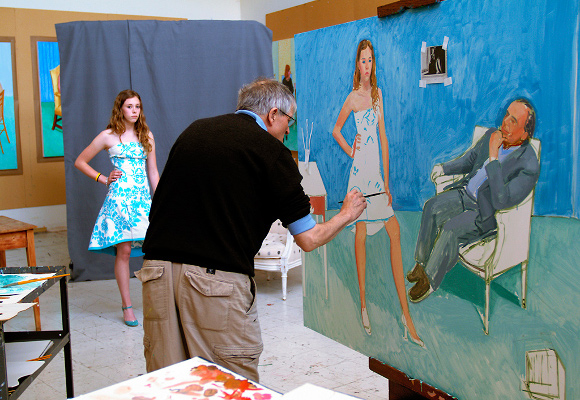 "David Hockney painting ""The Photographer and His Daughter,"" a painting of photographer Jim McHugh and his 15-year-old daughter, Chloe McHugh. Painting made in 2005. 