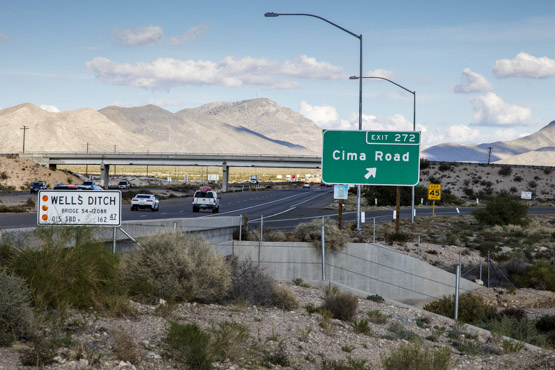 The I-15 Cima Road offramp where the torso of Jodi Brewer was discovered in 2003.   Photo: Kim Stringfellow.
