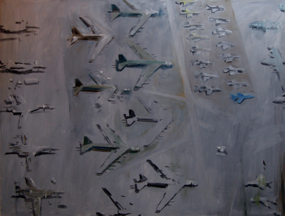 """""""Davis-Monthan Boneyard,"""" (2013). Oil on panel."""