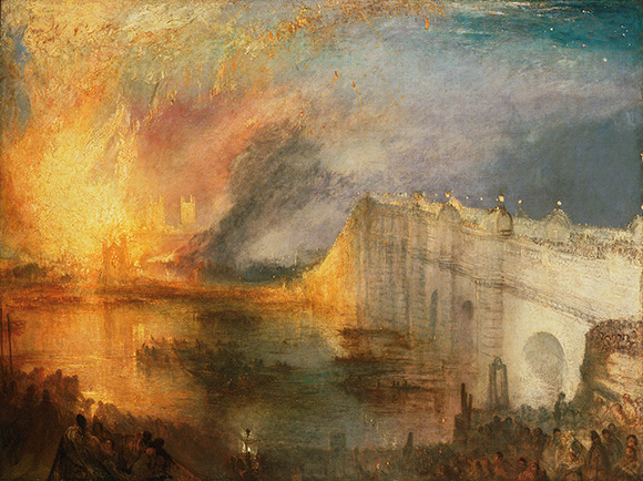 "Joseph Mallord William Turner (British, 1775 - 1851), ""Burning of the Houses of Lords and Commons,"" October 16, 1834, exhibited 1835. Oil on canvas. Courtesy of the Philadelphia Museum of Art: The John Howard McFadden Collection, 1928."