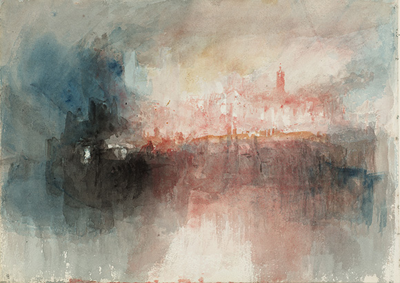 "Joseph Mallord William Turner (British, 1775 - 1851), ""Fire at the Grand Storehouse of the Tower of London,"" 1841. Watercolor. Courtesy of Tate: Accepted by the nation as part of the Turner Bequest 1856. Photo © Tate, London 2014."