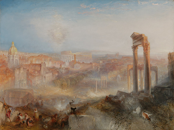 "Joseph Mallord William Turner (British, 1775 - 1851), ""Modern Rome-Campo Vaccino,"" exhibited 1839. Oil on canvas. The J. Paul Getty Museum."