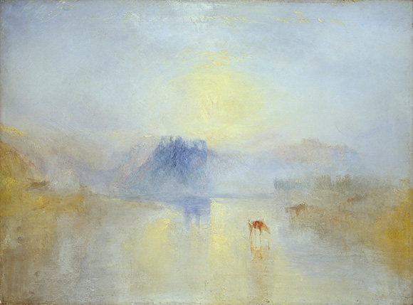 "Joseph Mallord William Turner (British, 1775 - 1851), ""Norham Castle, Sunrise,""about 1845. Oil on canvas. Courtesy of Tate: Accepted by the nation as part of the Turner Bequest 1856. Photo © Tate, London 2014."
