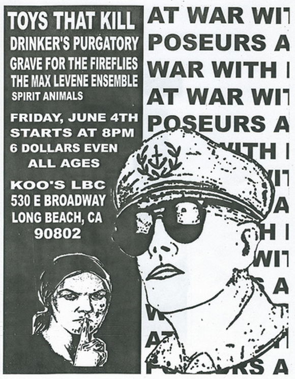 Toys That Kill flyer, Koo's Long Beach, 2004. | Courtesy of <a href='http://www.flickr.com/photos/lifeontheedge/'>Marshall Astor</a>.