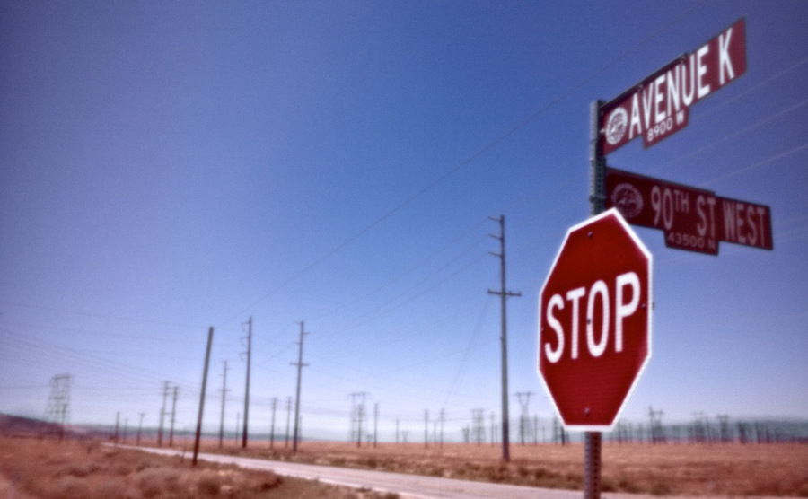 """Forest of Power Lines - Avenue K & 90th St. West,"" pinhole exposure. Lancaster, CA. 2010. 