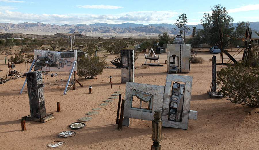 Panorama of Noah Purifoy's sculptures. | Photo: Drew Tewksbury.
