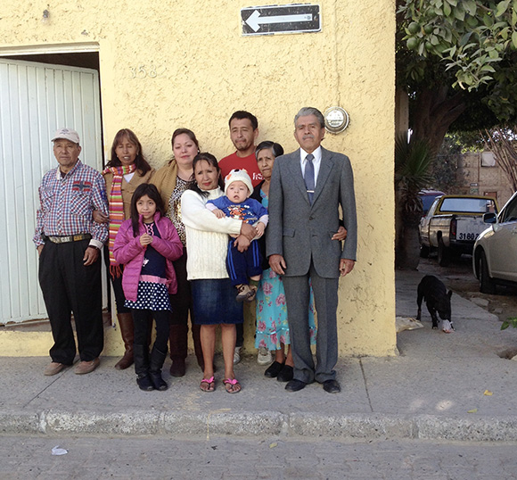 Leandra Becerra Lumbreras's family, photographed in front of the family's home in Zapopan, Mexico.