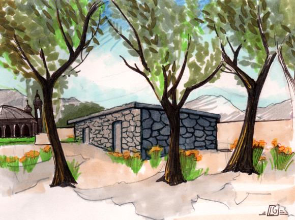 Afghani village in DICE-T | Drawing by Leslie Goren
