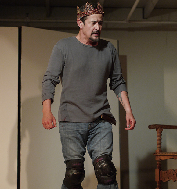 Luis Galindo as Macbeth, workshops at Independent Studio, May 2013 | Photo by Doug Ellison.