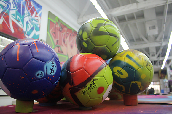 Soccer balls tagged up by Man One