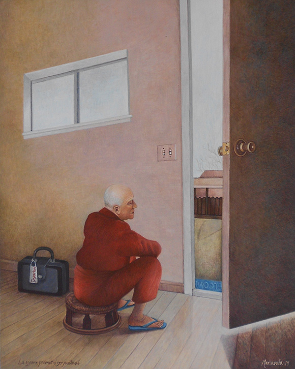 """<em>La espero, prometió ser puntual</em>"" / ""I Wait for Her, She Promised to Be on Time,"" 2014. 10 x 8 in. Egg tempera on board."