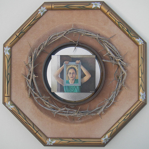 """<em>Me voy a dedicar a ser santa</em>"" / ""I am Going to Devote Myself to be a Saint,"" 2011. 12.4 x 12.4 1.8 inches. Egg tempera painting and mixed media assemblage."