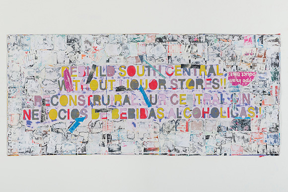 "Mark Bradford, ""Rebuild South Central"" 2015. Mixed media on canvas. 43 x 96 in. (109.2 x 243.8 cm). 