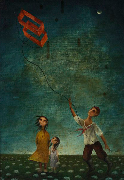 """The Kite Flyer,"" one of Marta Becket's earlier paintings recently sold on auction. 