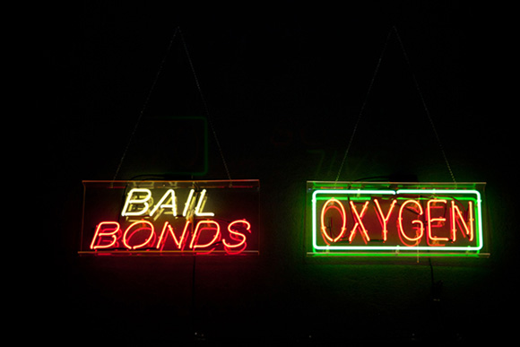 "Daniel Joseph Martinez, ""Bail Bonds Oxygen,"" 2012, Mixed media with colored neon"