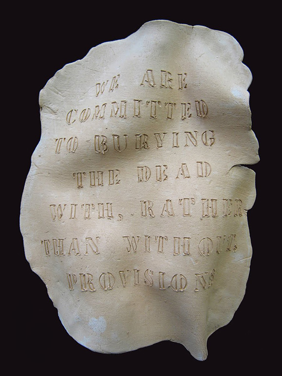"Anna Mayer, ""We Are Committed to Burying the Dead with, Rather than Without, Provisions (Piuma Road),"" 2008-wildfire-fired ceramic (forthcoming), 20.75"