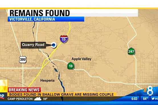 Location of the McStay family burial site just northeast of Victorville, CA.