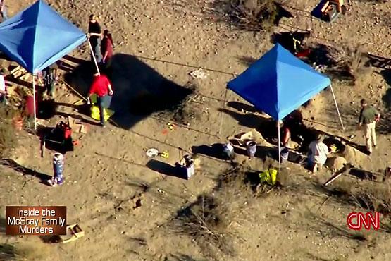 CNN news coverage of murder crime scene investigation at Quarry Road site in November 2013.