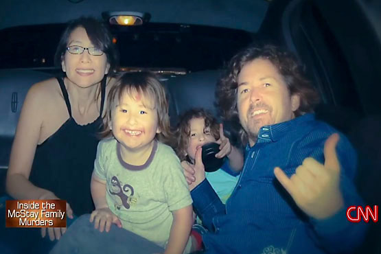 CNN news coverage of the McStay family murders. Left to right: Summer, Joseph Jr., Gianni and Joseph McStay.