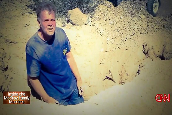 Chase Merritt, shown in a hole he presumably dug, is currently awaiting trial for the McStay family slayings.