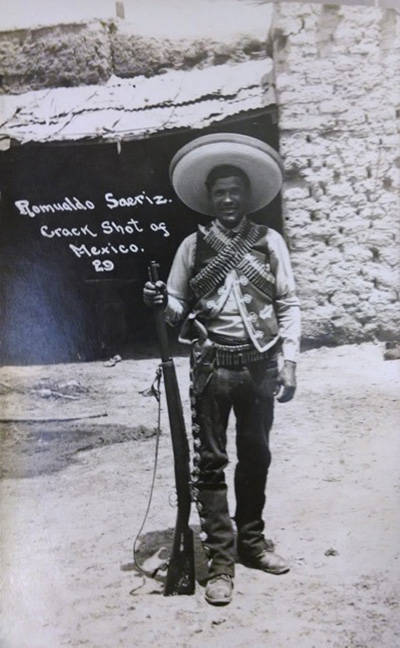 "Unknown, ""Romualdo Saeriz,"" Crack Shot of Mexico, 29, n.d.  Photographic Postcard. Collection of Mexican Revolution photographs, Collection 026. UCR Library, Special Collections & University Archives, University of California, Riverside."
