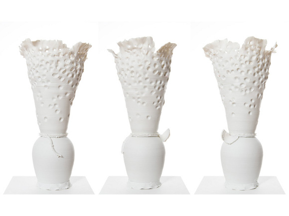 Vessels, unglazed porcelain, 2015, by Mineo Mizuno. | Courtesy of the artist and the Samuel Freeman Gallery