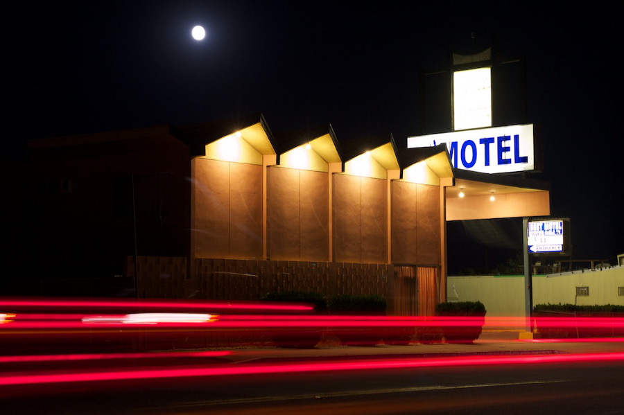 """Moon Over Best Motel."" Mojave, CA. 2011.   Photo: Osceola Refetoff."