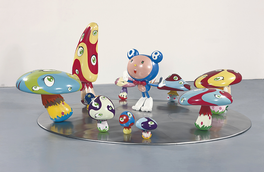 """DOB in the Strange Forest (Blue DOB),"" 1999 by Takashi Murakami, fiber-reinforced plastic, resin, fiberglass, acrylic and iron, 60 x 152 x 137 in. (152.4 x 386.08 x 347.98 cm); Courtesy of the The Broad Art Foundation. Image ©Murakami"