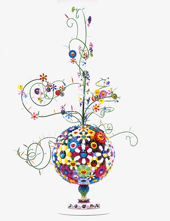 """Flower Matango (b)"" 2001-2006 by Takashi Murakami, fiberglass, resin, oil paint, lacquer, acrylic plates, and iron, 157 1/2  x 118  x 98 1/2 in. (400.05  x 299.72  x 250.19 cm); Courtesy of The Broad Art Foundation; Image ©Murakami"