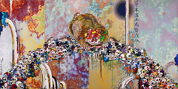"""Of Chinese Lions, Peonies, Skulls, And Fountains,"" 2011, acrylic on canvas stretched on wooden panel, 118 x 236 1/4 inches overall; Courtesy of The Broad Art Foundation. Image ©Murakami"