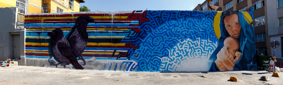 [Click to enlarge] Completed mural in Istanbul by Levi Ponce and Kristy Sandoval. | Photo: Mehmet Naci Demirkol.