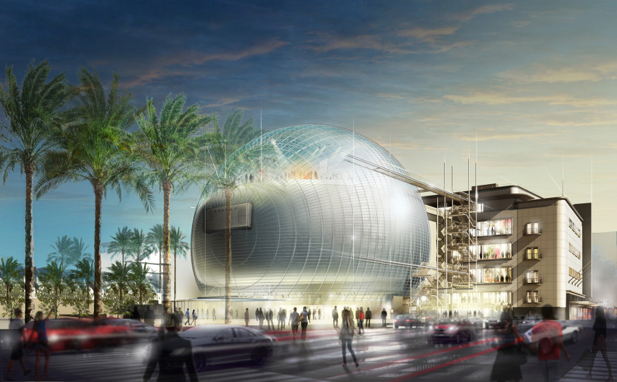 A rendering of Renzo Piano's architectural vision for the Museum of Motion Picture Arts and Sciences. | Image: © Renzo Piano Building Workshop, Studio Pali Fekete architects, A.M.P.A.S.