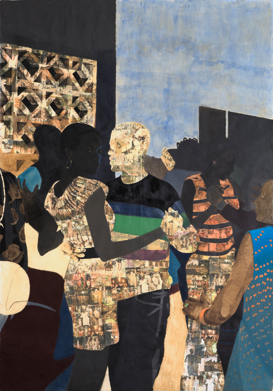 "Njideka Akunyili Crosby, ""I Refuse to be Invisible,"" 2010. Ink, charcoal, acrylic, and Xerox transfers on paper. 120 x 84 inches. Collection of Connie and Jack Tilton. 