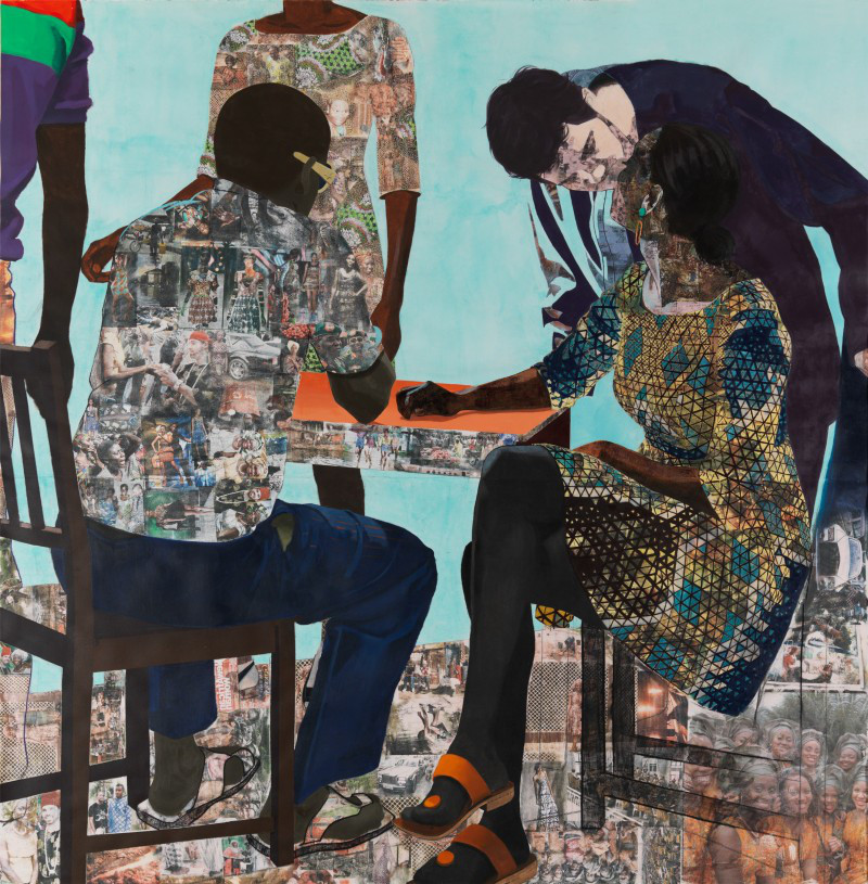 "Njideka Akunyili Crosby, ""I Always Face You, Even When It Seems Otherwise (Right Panel),"" 2012. Acrylic, pastel, charcoal, colored pencil, collage and Xerox transfers on paper. 6.5 x 6.5 feet."