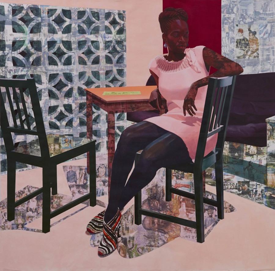 "Njideka Akunyili Crosby, ""Predecessors (Left Panel),"" 2013. Acrylic, color pencils, charcoal and transfers on paper. 7 x 7 feet."