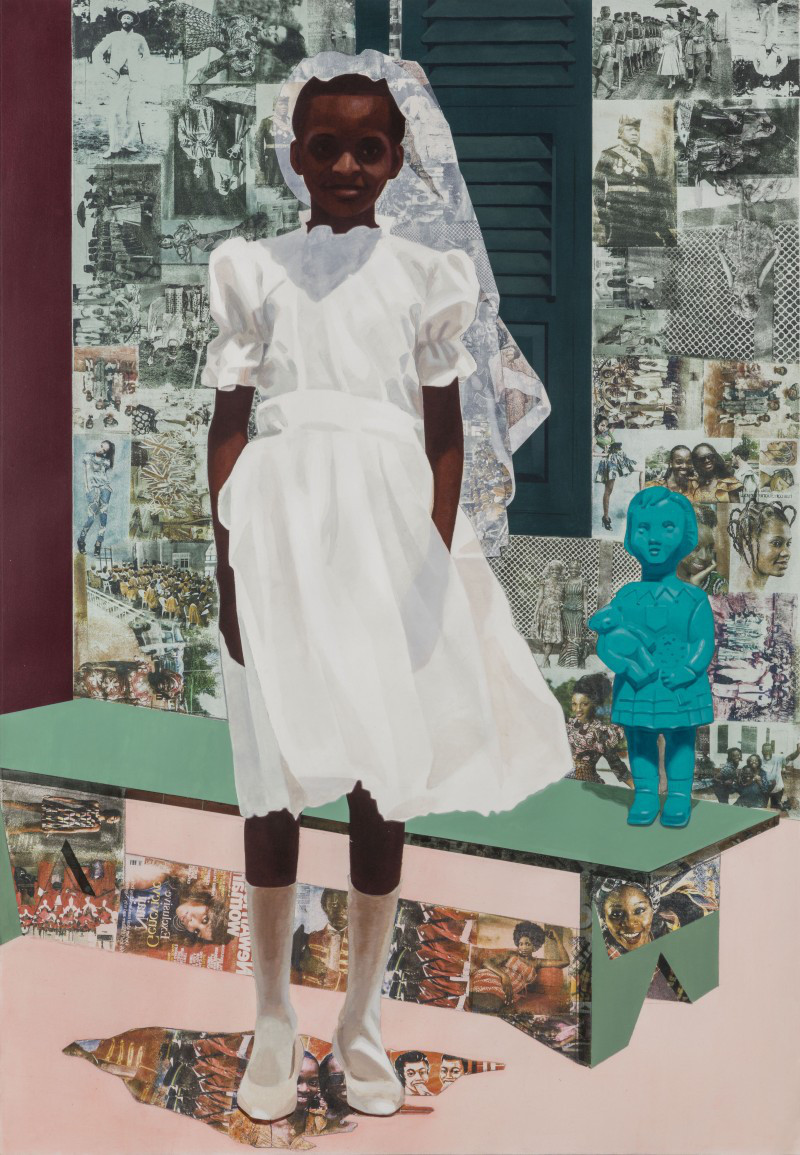 "Njideka Akunyili Crosby, ""The Beautyful Ones, Series #4,"" 2015. Acrylic, color pencils, and transfers on paper. 5.1 x 3.5 feet."
