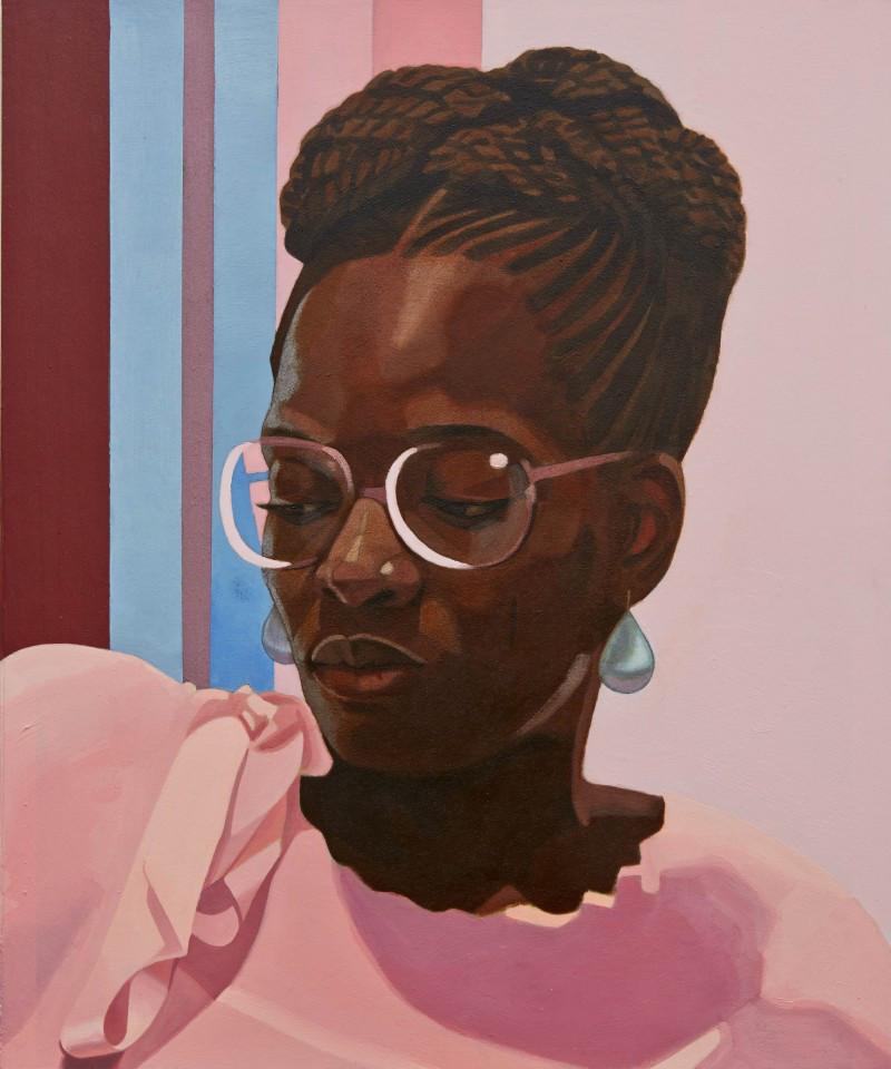 "Njideka Akunyili Crosby, ""Then You Lost Me,"" 2013. Oil and acrylic on printed paper mounted on board. 2 x 1.67 feet."