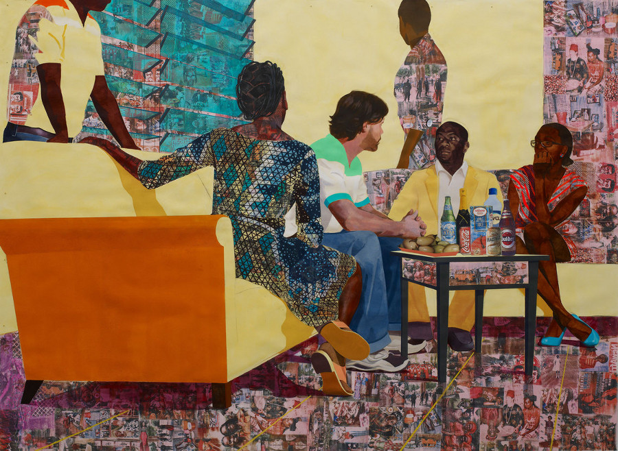 "Njideka Akunyili Crosby, ""Something Split and New,"" 2013. Acrylic, pastel, color pencils, charcoal, marble dust, collage and transfers on paper. 7 x 9.25 feet."