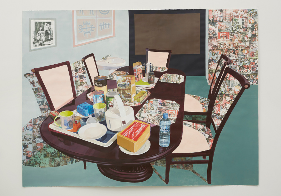 """Njideka Akunyili Crosby, """"Tea Time in New Haven, Enugu,"""" 2013. Acrylic, collage, color pencils, charcoal, and Xerox transfers on paper. 84 x 111 inches. Private collection.   Photo: Jason Wyche, courtesy of Marianne Boesky Gallery, New York."""