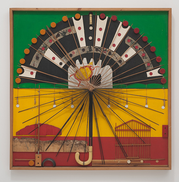 """Noah Purifoy, """"Untitled,"""" 1967. 43 × 43 in. (109.22 × 109.22 cm). John Outterbridge Collection. © Noah Purifoy Foundation. Photo © Robert Wedemeyer."""